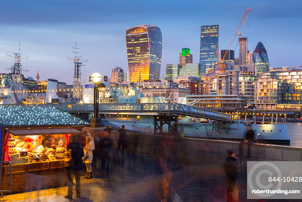 Christmas Market, The Scoop and The City of London skyline, South Bank, London, England, United Kingdom, Europe