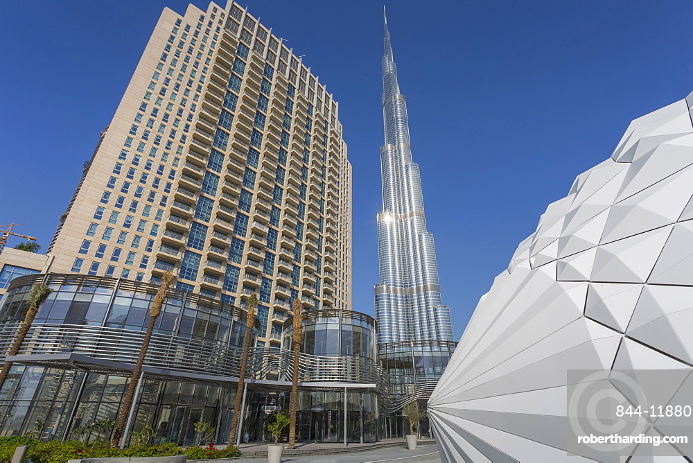 The Burj Khalifa from The Opera House in Downtown, Dubai, United Arab Emirates, Middle East