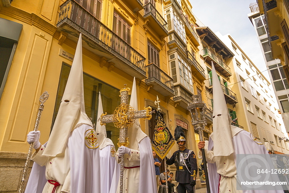 View of the Resurrection Parade on Easter Sunday, Malaga, Costa del Sol, Andalusia, Spain, Europe