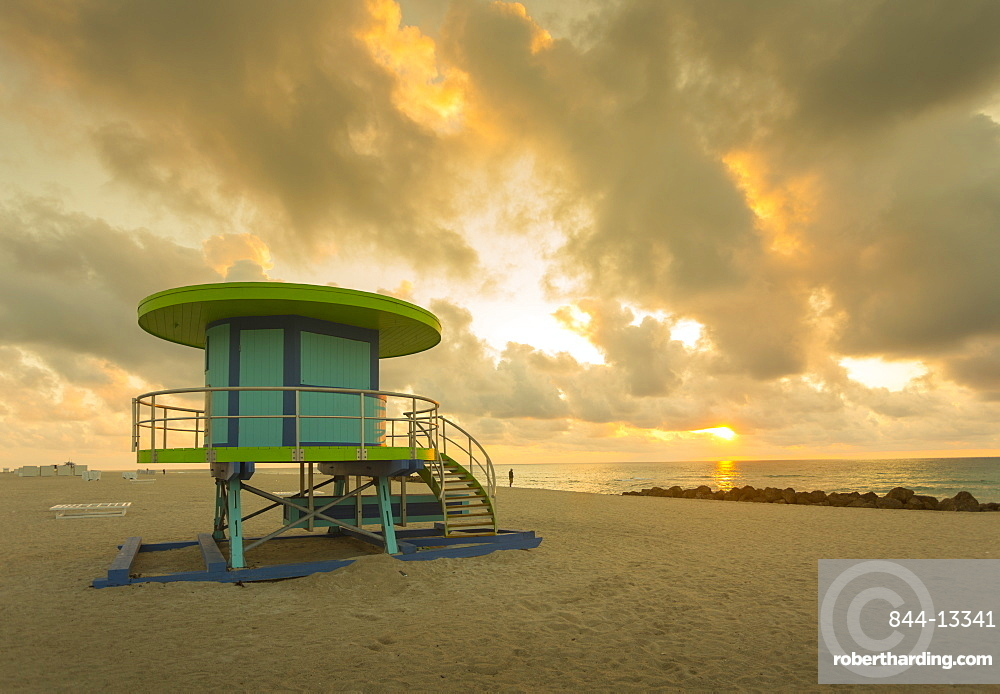 Lifeguard station on South Beach at sunrise, Miami Beach, Miami, Florida, United States of America, North America