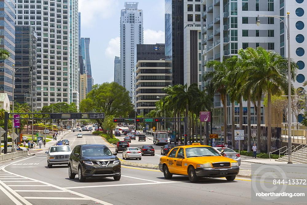 Traffic on Birckell Avenue in Downtown Miami, Miami, Florida, United States of America, North America