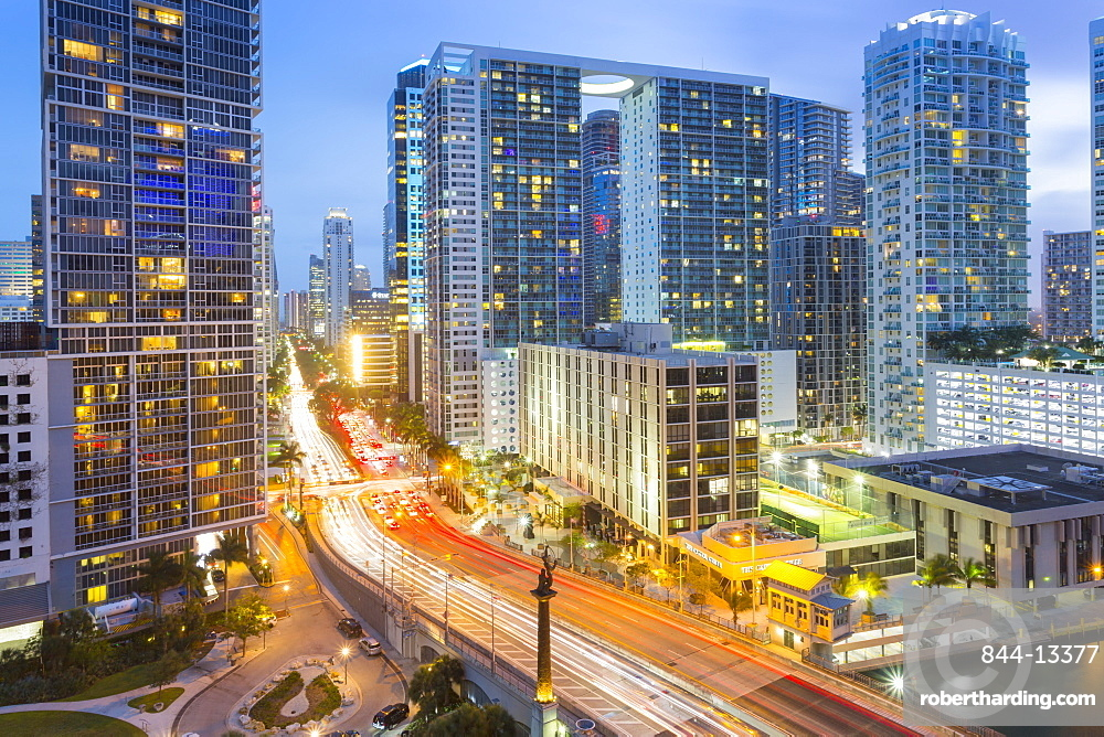 View from Rooftop bar overlooking traffic on Birckell Avenue at dusk, Miami, Florida, United States of America, North America