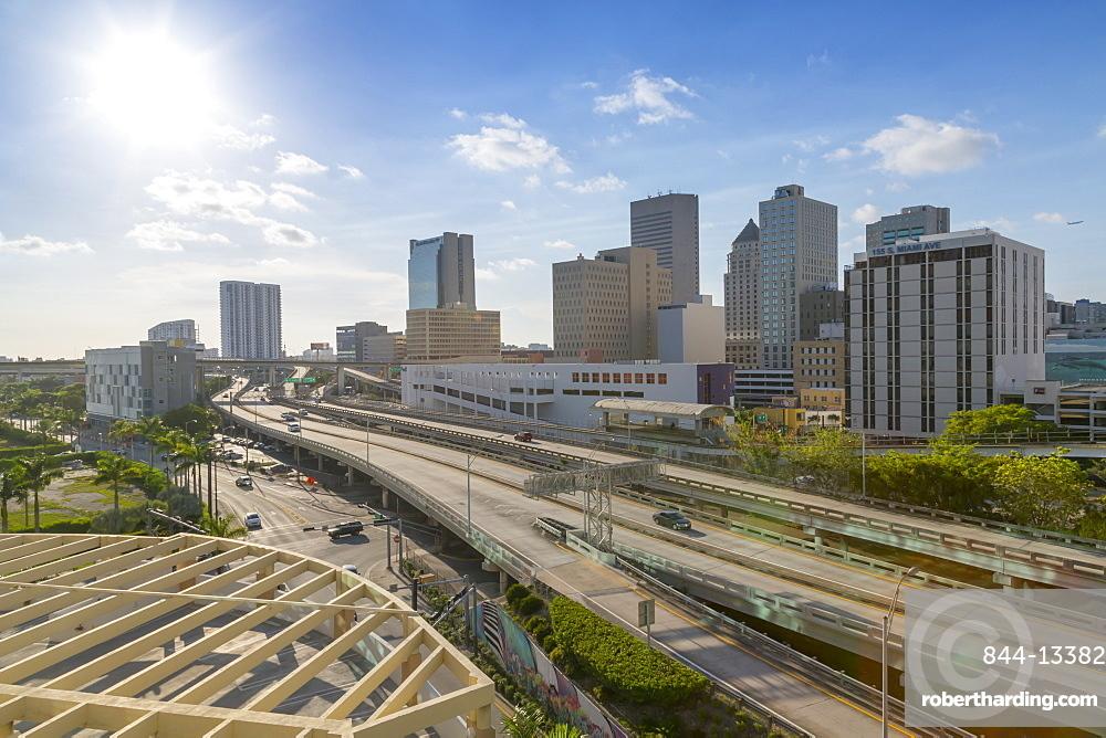 View of Miami freeway in Downtown Miami, Miami, Florida, United States of America, North America