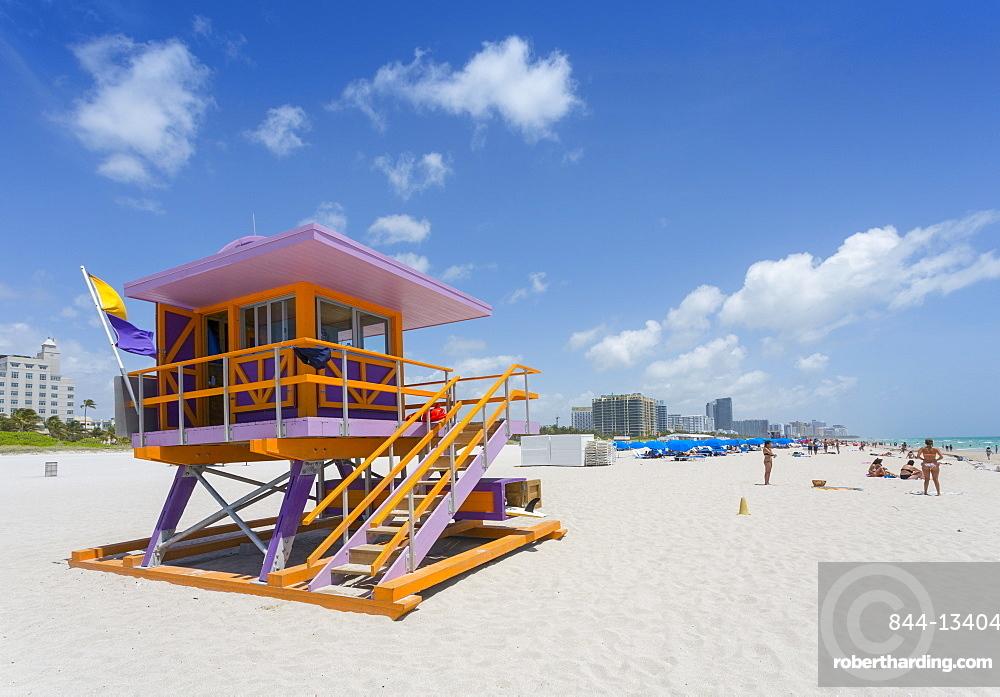 Lifeguard watchtower on South Beach, Miami Beach, Miami, Florida, United States of America, North America