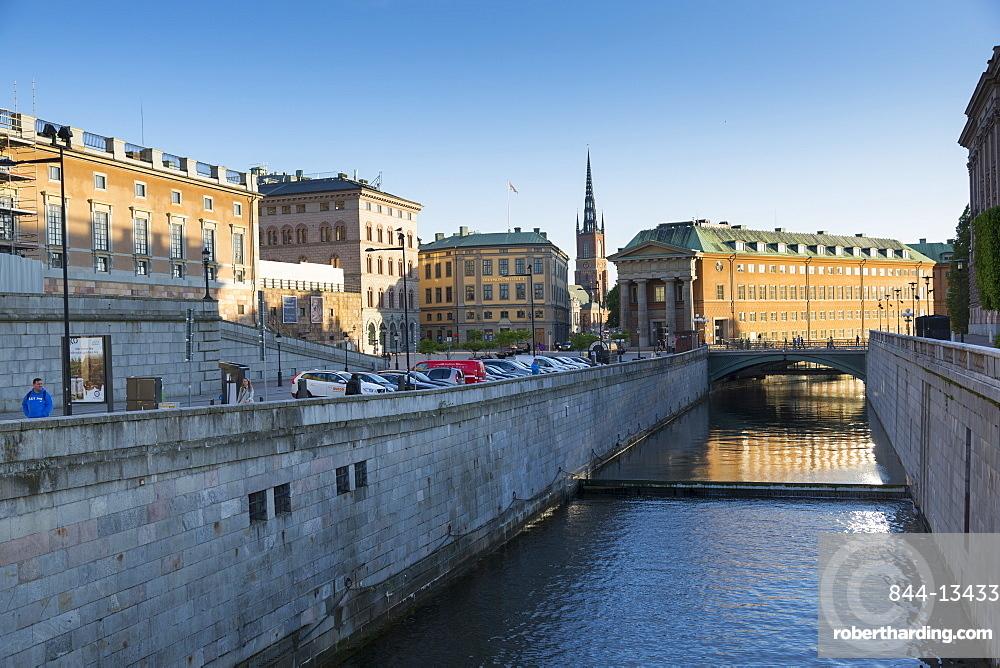 View of Riddarholmen Church from Gamla Stan, Stockholm, Sweden, Scandinavia, Europe