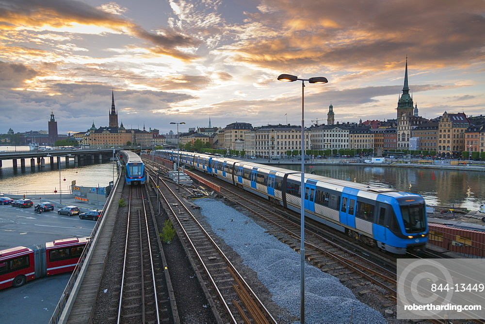Riddarholmen Church and city skyline, trains from Sodermalm, Stockholm, Sweden, Scandinavia, Europe