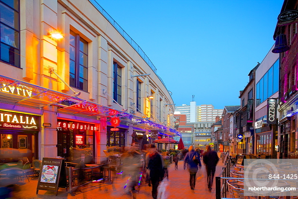 Forman Street at dusk, Nottingham, Nottinghamshire, England, United Kingdom, Europe