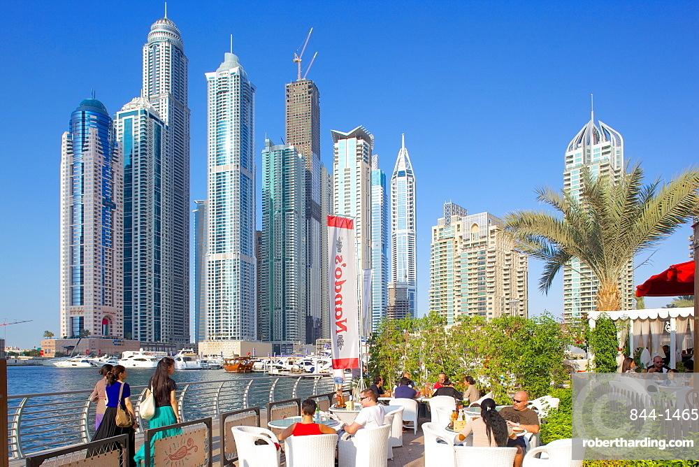 Dubai Marina and bar, Dubai, United Arab Emirates, Middle East