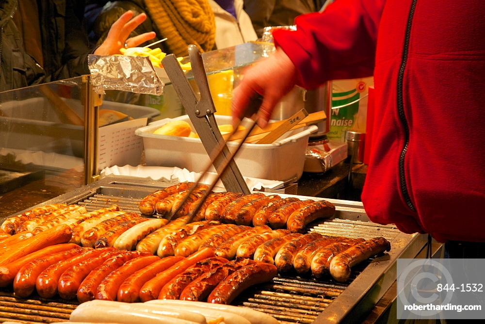 Hot dog stall, Christmas Market, Munster, North Rhine-Westphalia, Germany, Europe