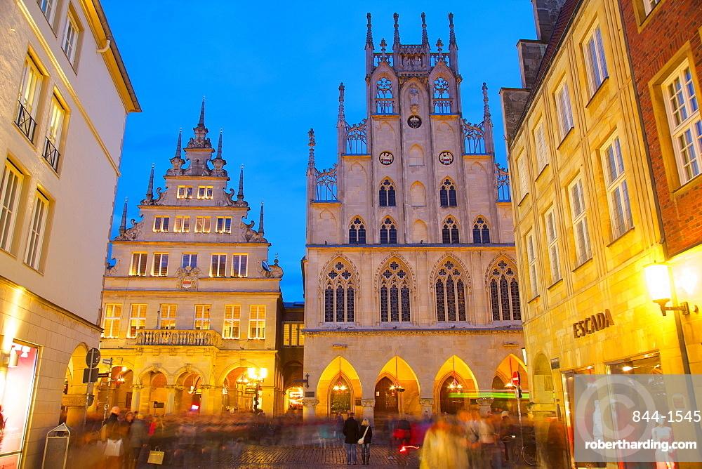 Historic Town Hall on Prinzipalmarkt at Christmas, Munster, North Rhine-Westphalia, Germany, Europe