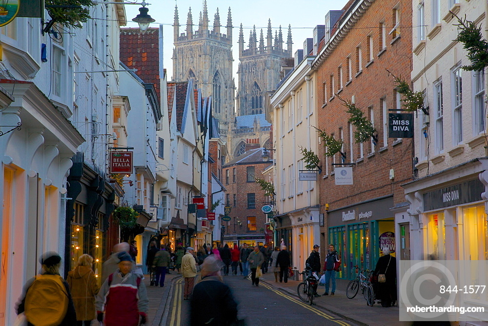 Colliergate and Minster at Christmas, York, Yorkshire, England, United Kingdom, Europe