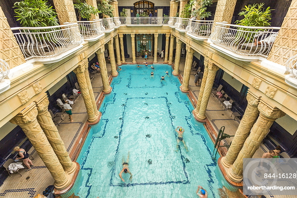 People bathing in Gellert Thermal Baths, Budapest, Hungary, Europe