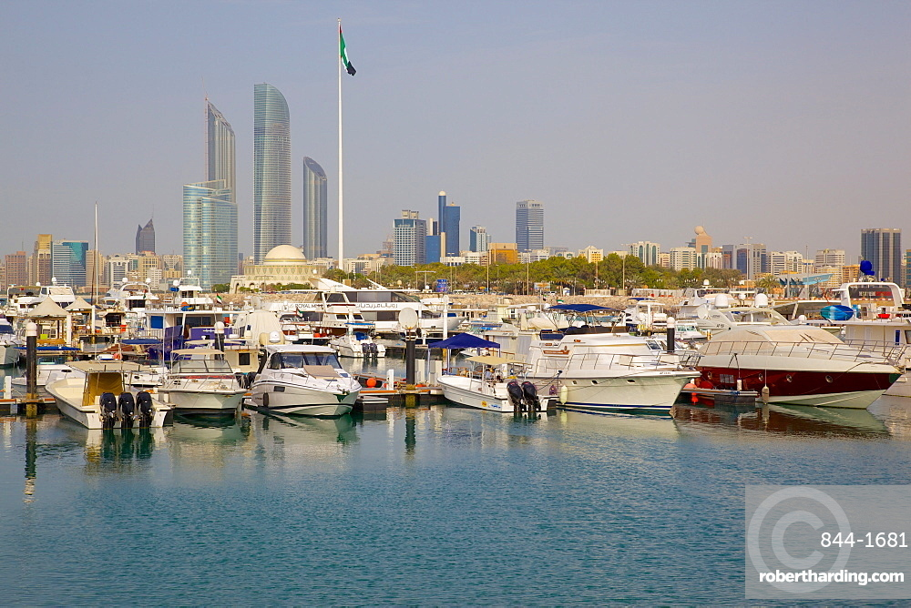 View of city from Marina Mall, Abu Dhabi, United Arab Emirates, Middle East