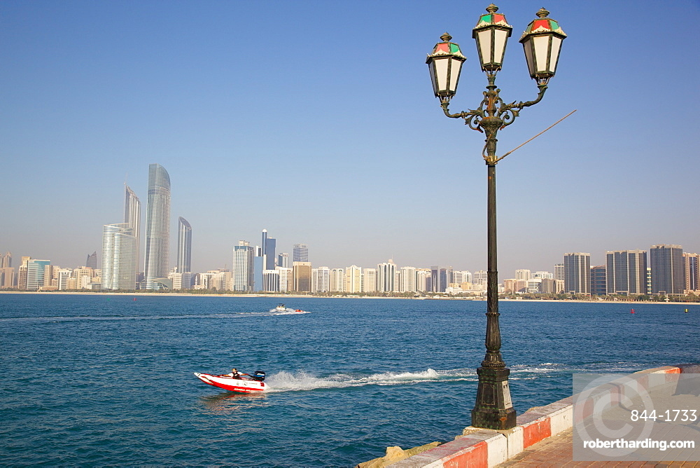 View of city from Marina, Abu Dhabi, United Arab Emirates, Middle East
