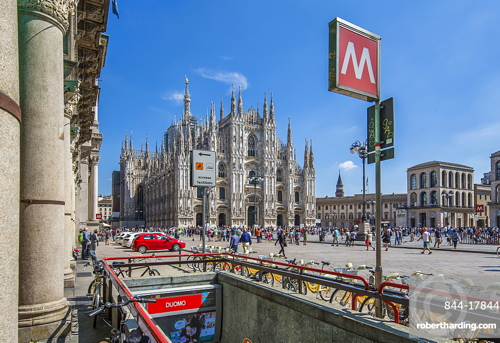 View of Duomo di Milano and Metro entrance in Piazza Del Duomo on a sunny day, Milan, Lombardy, Italy, Europe