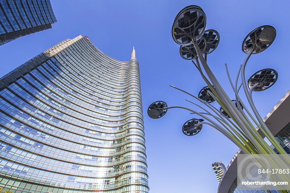 View of buildings in Piazza Gae Aulenti, Milan, Lombardy, Italy, Europe