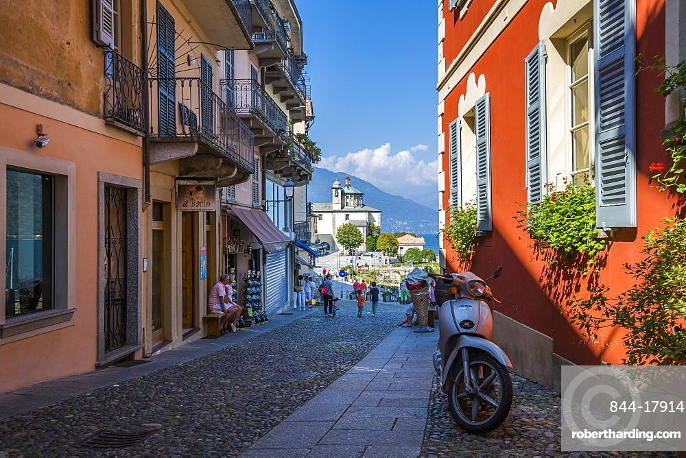 View of cobbled street and Santuario della SS Pieta Church in Cannobio, Lake Maggiore, Piedmont, Italian Lakes, Italy, Europe