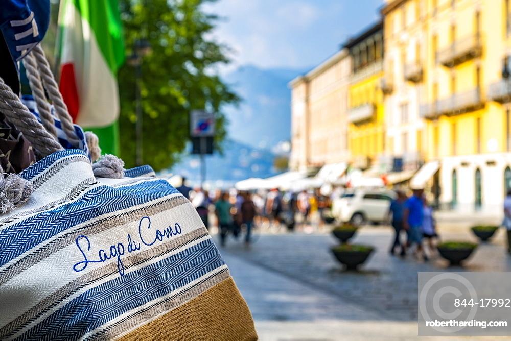 View of souvenir bags and shopping in Como, Province of Como, Lake Como, Lombardy, Italian Lakes, Italy, Europe
