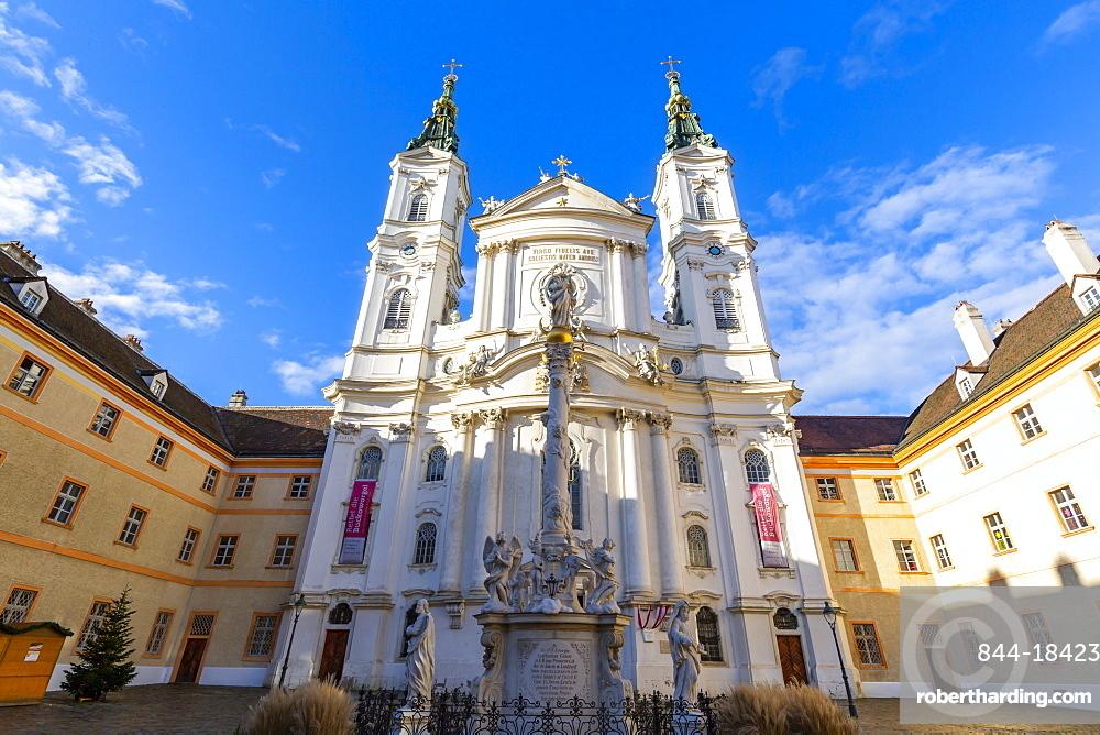 View of Catholic Church Maria Treu in Jodok Fink Platz, Vienna, Austria, Europe
