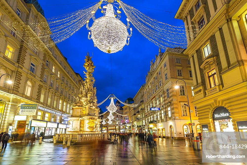 View of Christmas Lights on Graben at dusk, Vienna, Austria, Europe