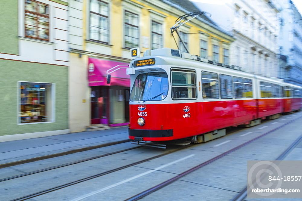 City tram near Rathausplatz, Vienna, Austria, Europe