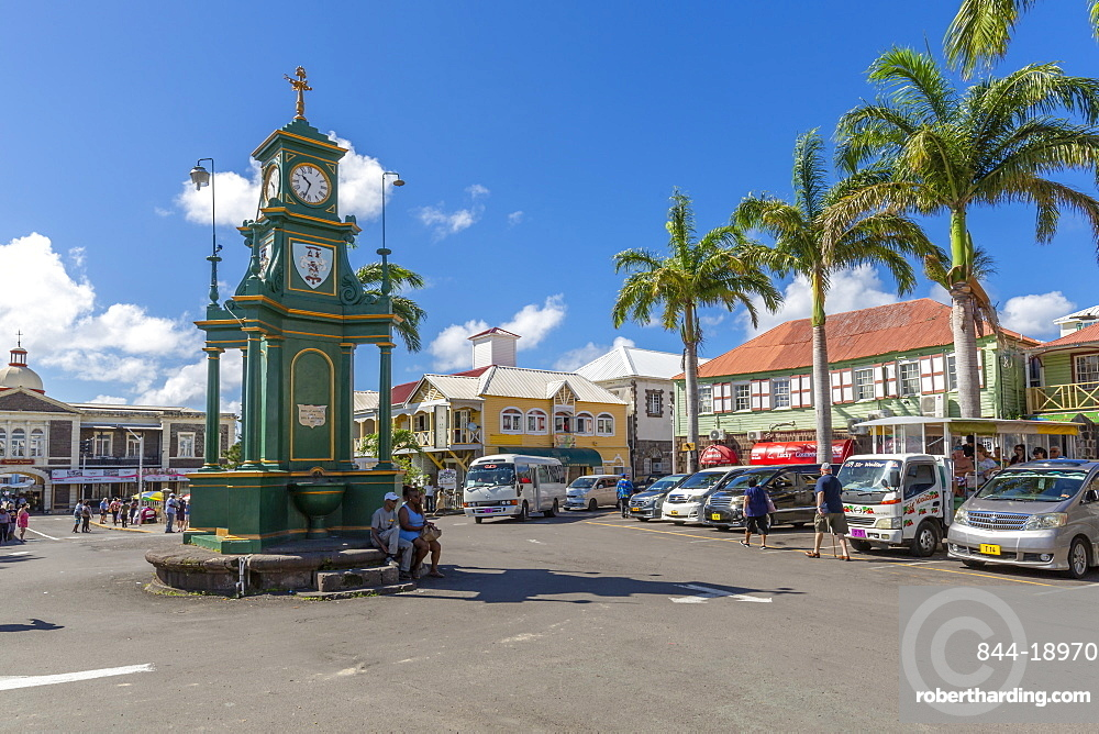 View of The Circus and Memorial Clock, Basseterre, St. Kitts and Nevis, West Indies, Caribbean, Central America