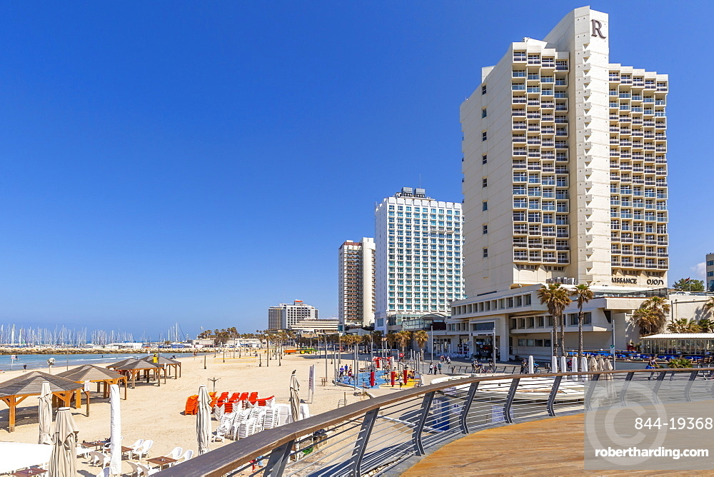 View of Gordon Beach and sea front hotels, Tel Aviv, Israel, Middle East