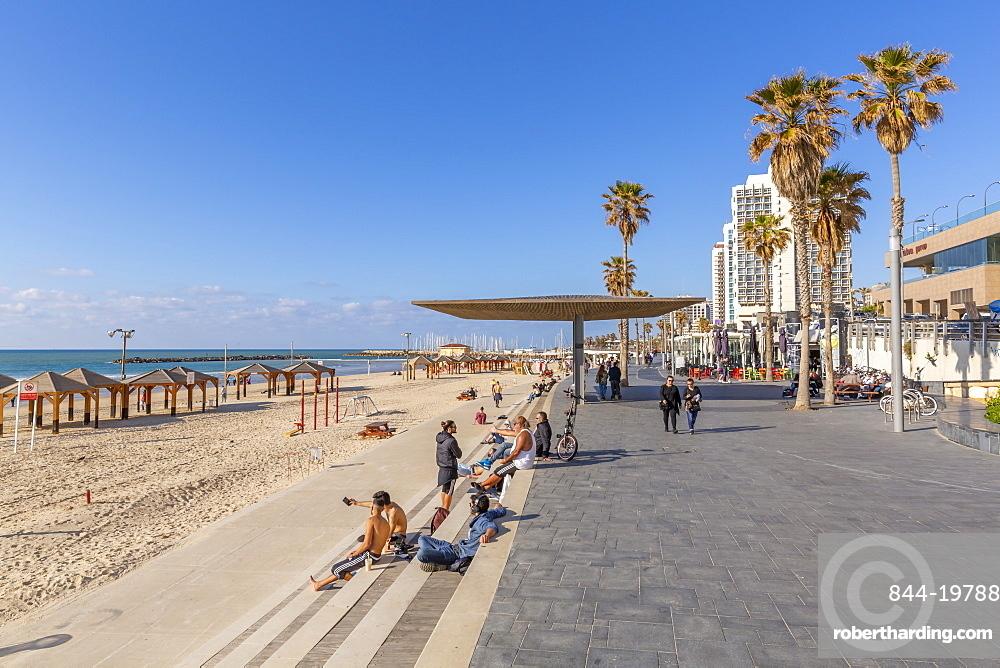 View of hotels and promenade on Hayarkon Street, Tel Aviv, Israel, Middle East