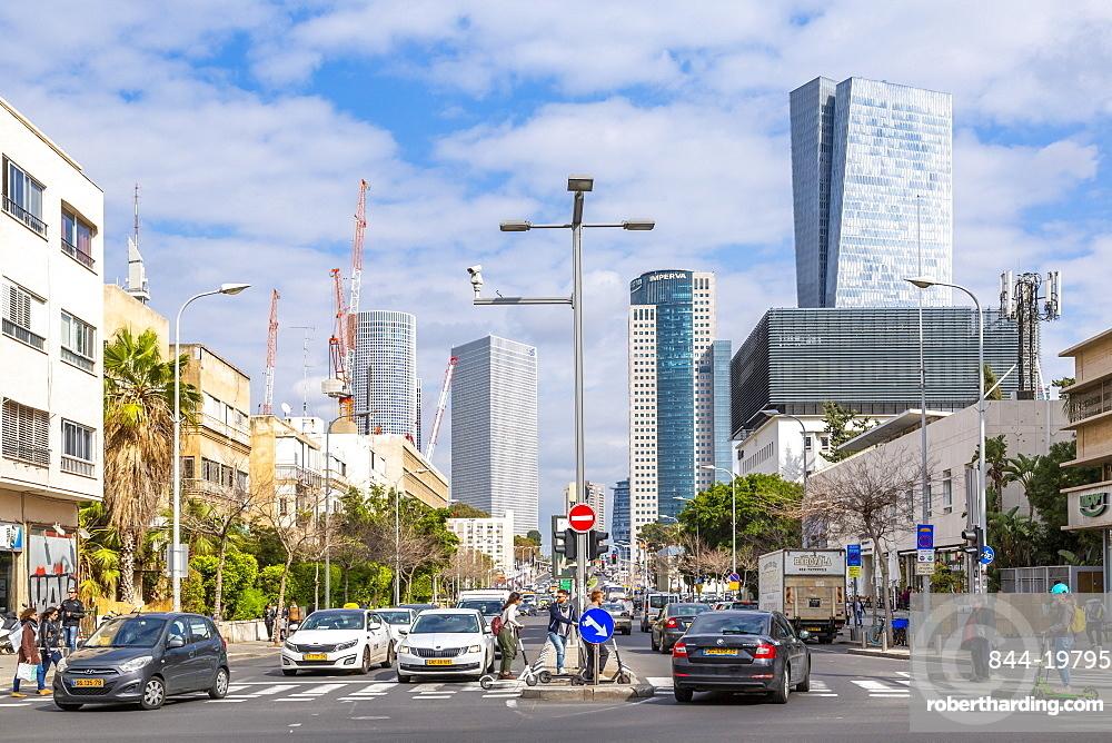View of buildings and Eliezer Kaplan Street, Tel Aviv, Israel, Middle East