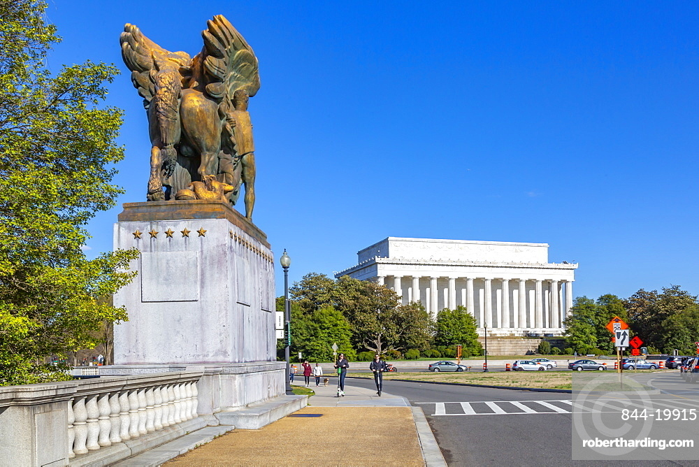 View of The Arts of Peace Sculptures and Lincoln Memorial, Washington D.C., United States of America, North America