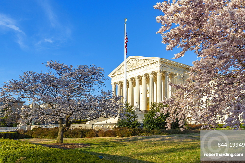 View of Supreme Court of the United States in spring, Washington D.C., United States of America, North America