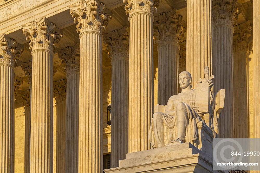 View of Supreme Court of the United States at sunset, Washington D.C., United States of America, North America