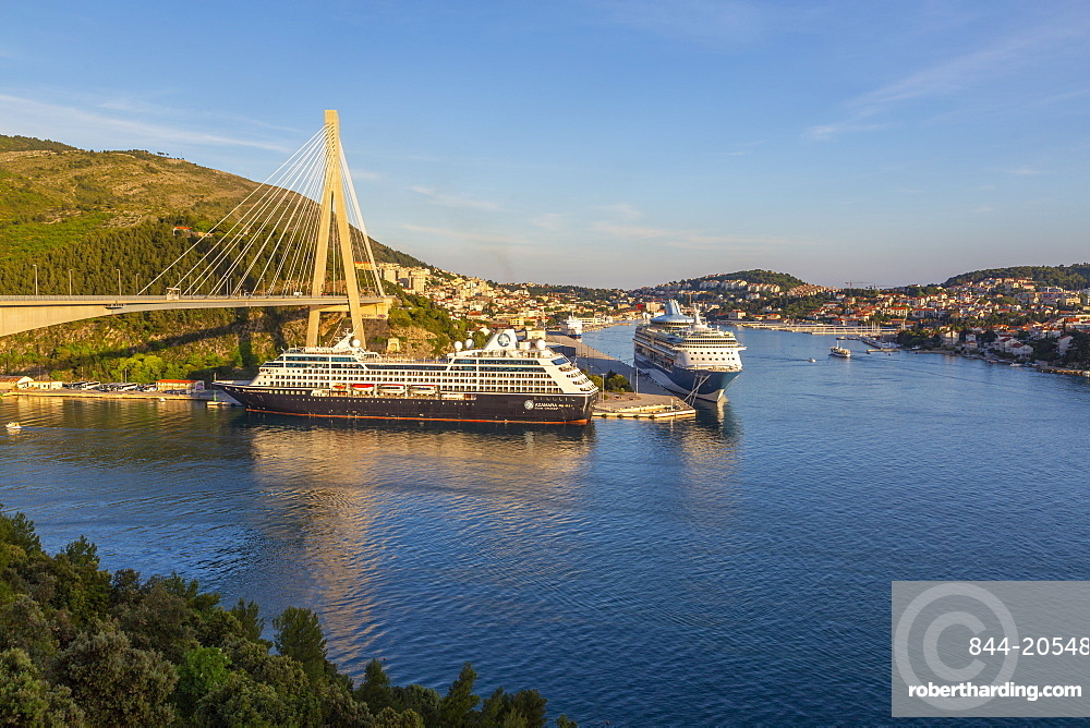 View of cruise ships in the Port of Dubrovnik, Dubrovnik Riviera, Croatia, Europe