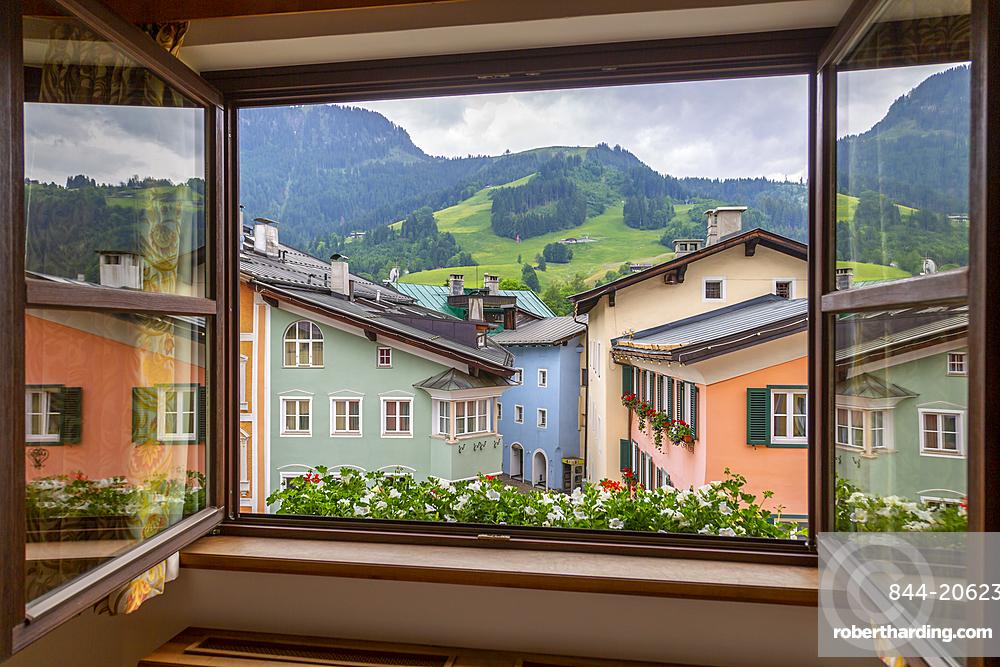 View of colourful architecture from window of Vordarstadt, Kitzbuhel, Austrian Tyrol, Austria, Europe