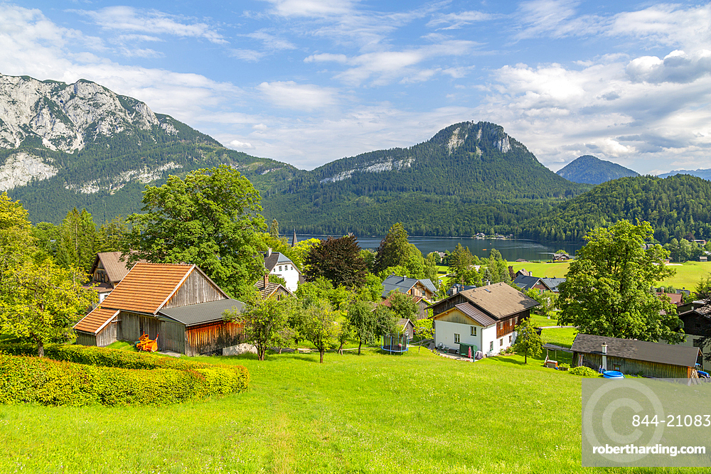 View of traditional chalets and Grundlsee, Styria, Austria, Europe