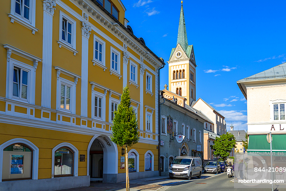 View of colourful Catholic Church at Radstadt, Styria, Austria, Europe