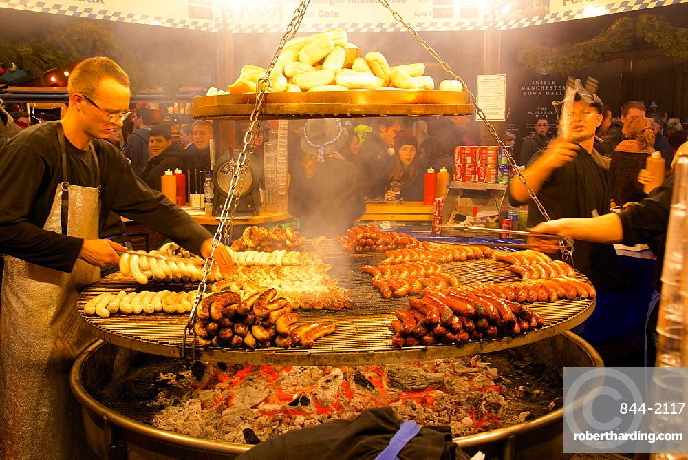 Hot dog stand, Christmas Market, Albert Square, Manchester, England, United Kingdom, Europe