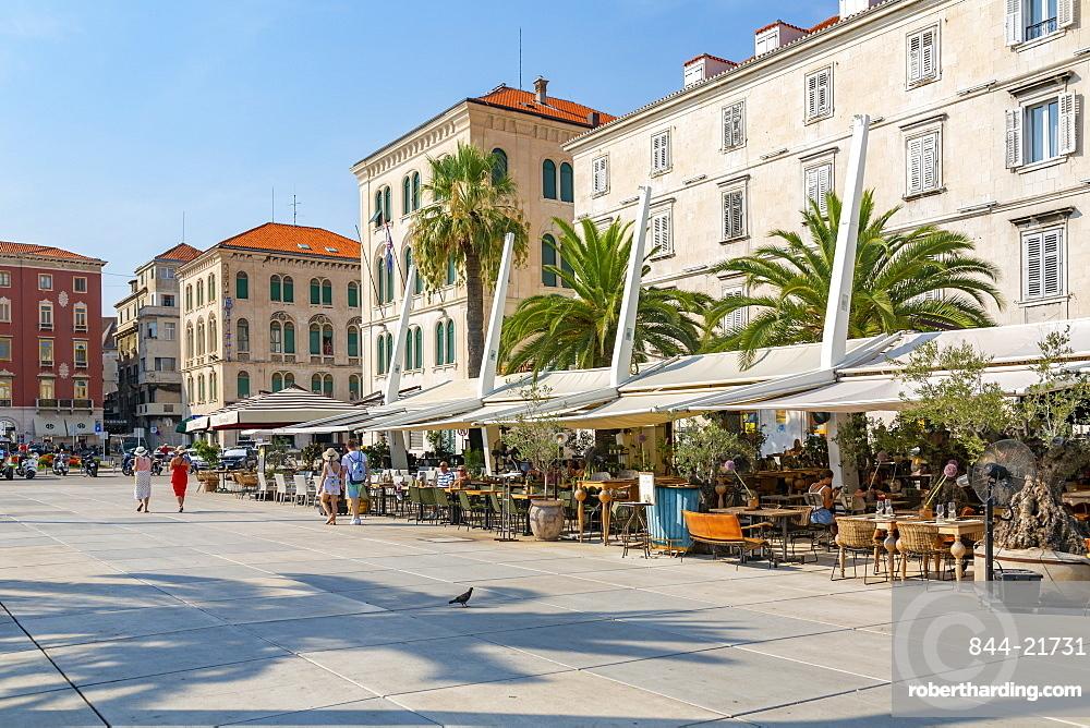 View of buildings and cafes on the Promenade, Split, Dalmatian Coast, Croatia, Europe
