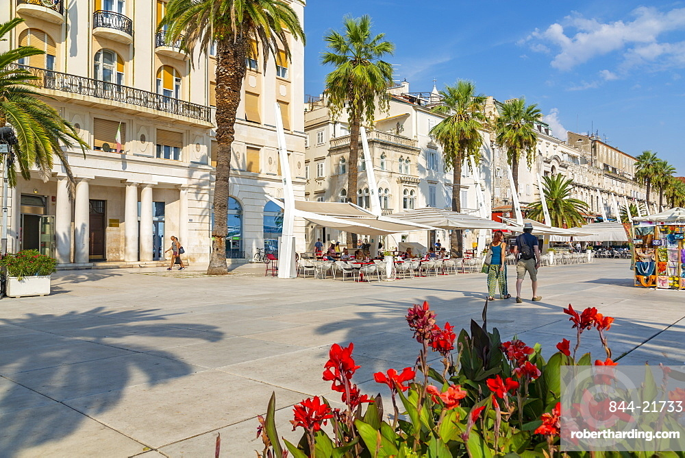View of buildings and cafes on the Promenade, Split, Dalmatian Coast, Croatia, Europe
