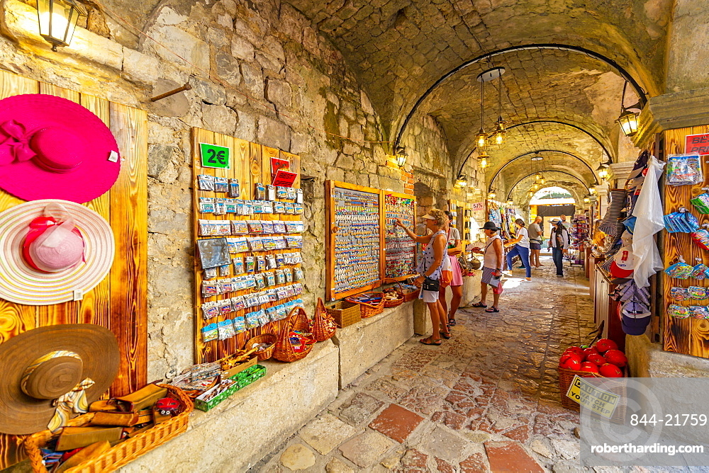 View of Old Town market stalls in Kotor, UNESCO World Heritage Site, Kotor, Montenegro, Europe