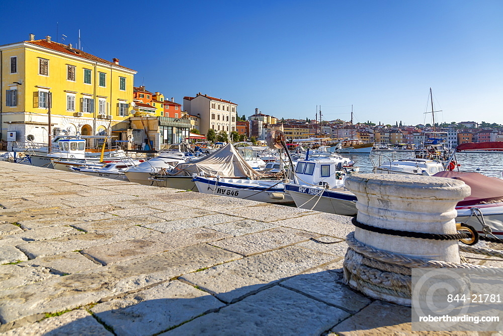View of harbour and the old town, Rovinj, Istria, Croatia, Adriatic, Europe