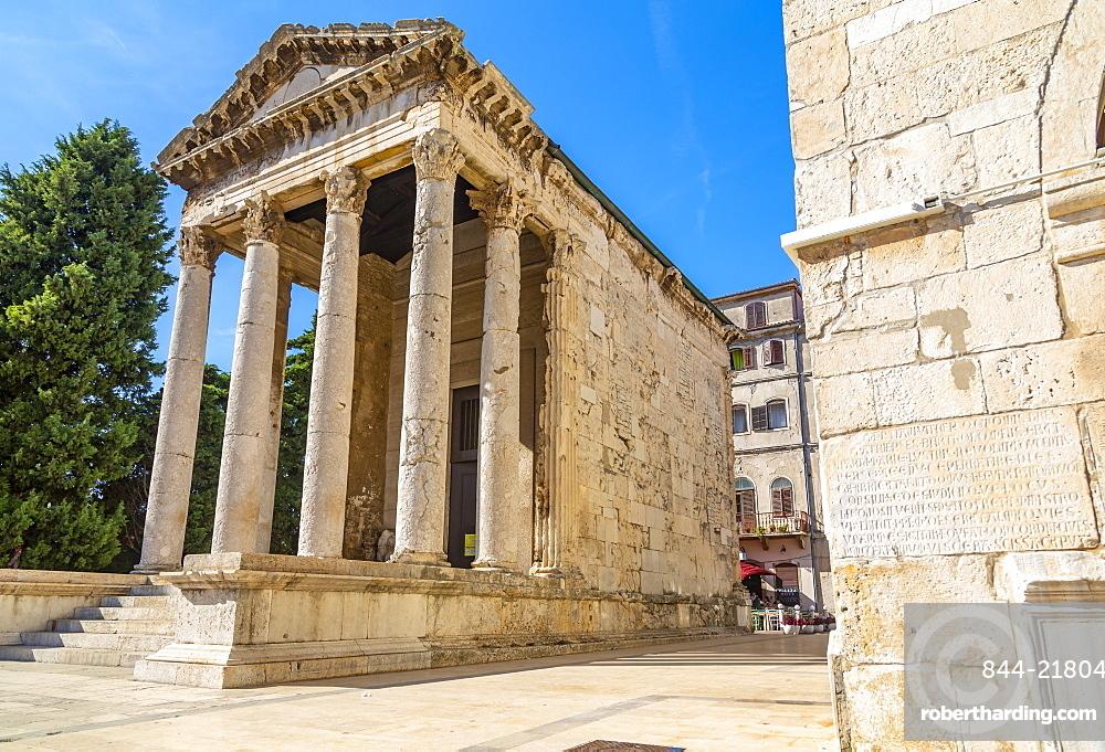View of Temple of Augustus in Forum Square, Pula, Istria County, Croatia, Adriatic, Europe