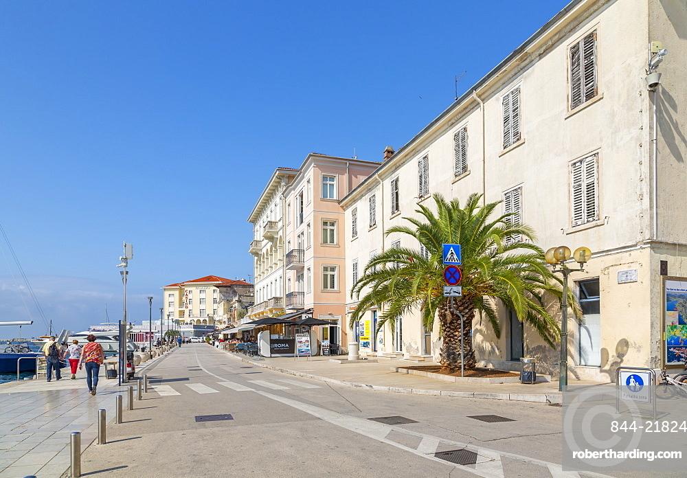 View of cafe restaurant Old Town of Porec and Adriatic Sea, Porec, Istria, Region, Croatia, Europe