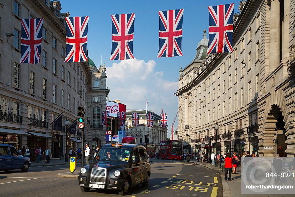 Union Jacks on Regent Street, London, England, United Kingdom, Europe