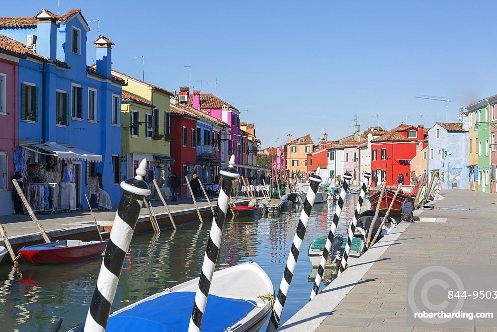 Canal and colourful facades, Burano, Veneto, Italy, Europe