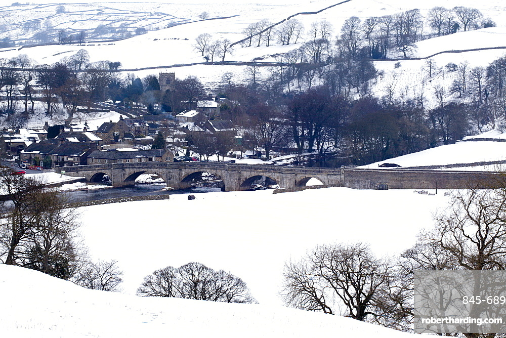 Burnsall in winter, Wharfedale, Yorkshire, England, United Kingdom, Europe