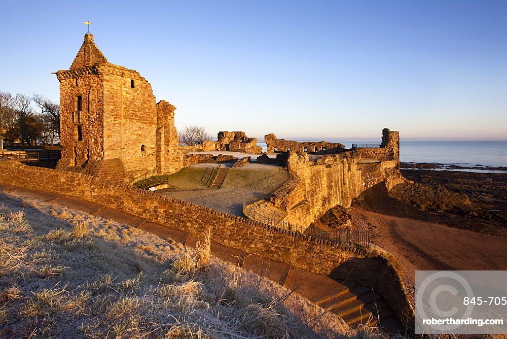 St. Andrews Castle at dawn, Fife, Scotland, United Kingdom, Europe