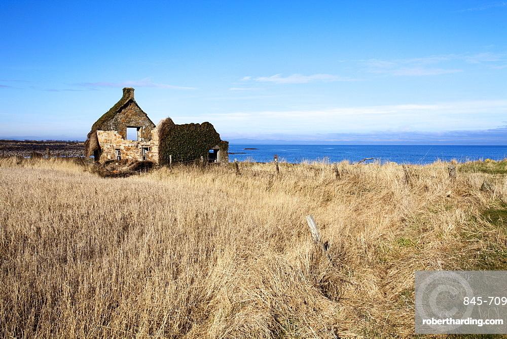 Ruined building on the Fife Coastal Path near Boarhills, Fife, Scotland, United Kingdom, Europe