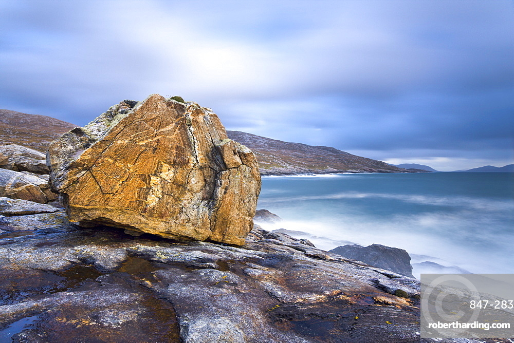 Giant Lewisian gneiss rock on a showery evening at Mealista on the south west coast of Lewis, Isle of Lewis, Outer Hebrides, Scotland, United Kingdom, Europe