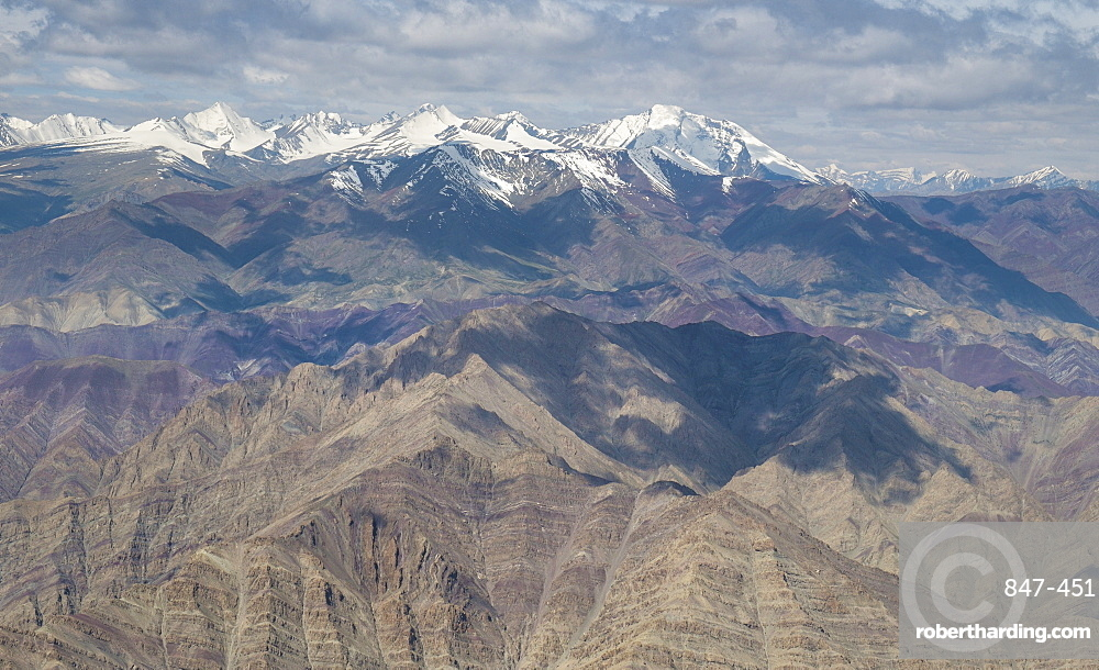 Flight over the Himalayas from Delhi to Leh, Himalayas, India, Asia